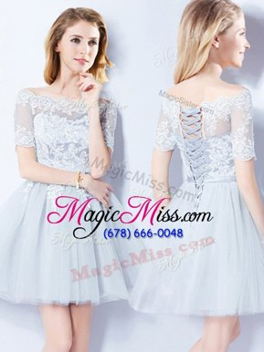 Adorable A-line Vestidos de Damas Light Blue Off The Shoulder Tulle Short Sleeves Mini Length Lace Up
