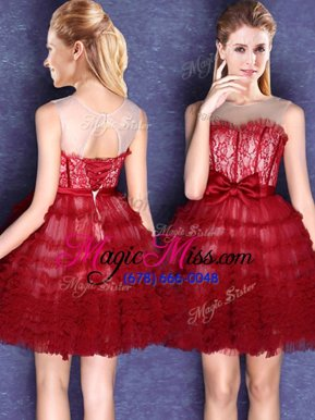 Vintage Scoop Sleeveless Lace Up Mini Length Lace and Bowknot Court Dresses for Sweet 16