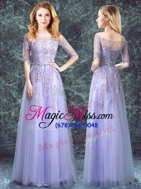 Square Half Sleeves Tulle Floor Length Lace Up Bridesmaid Dress in Lavender for with Appliques