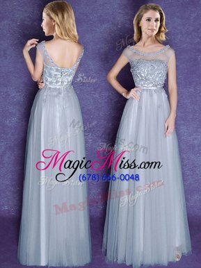 Extravagant Tulle Scoop Cap Sleeves Lace Up Appliques and Bowknot Wedding Party Dress in Grey