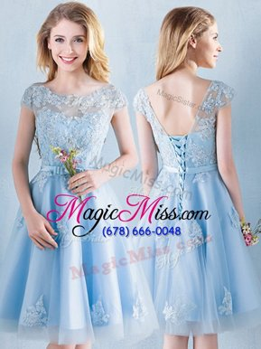Decent Scoop Short Sleeves Lace Up Bridesmaids Dress Light Blue Tulle