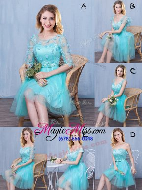 Traditional Scoop Sleeveless Tulle Knee Length Lace Up Bridesmaids Dress in Aqua Blue for with Lace and Appliques and Bowknot