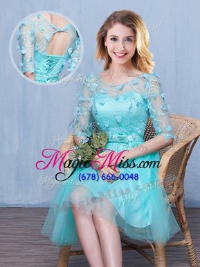 Customized Tulle Scoop Half Sleeves Lace Up Lace and Appliques and Bowknot Bridesmaid Dress in Aqua Blue