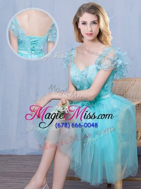 Nice Sweetheart Short Sleeves Tulle Court Dresses for Sweet 16 Lace and Appliques and Bowknot Lace Up