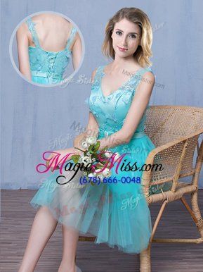 Aqua Blue Empire Lace and Appliques and Bowknot Bridesmaids Dress Lace Up Tulle Sleeveless Knee Length