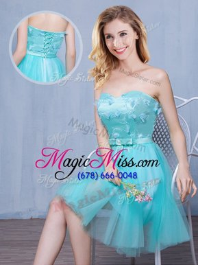 Luxurious Aqua Blue Tulle Lace Up Wedding Guest Dresses Sleeveless Knee Length Lace and Appliques and Bowknot