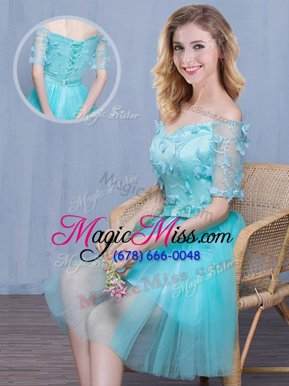 Elegant Aqua Blue Tulle Lace Up Off The Shoulder Short Sleeves Knee Length Dama Dress for Quinceanera Lace and Appliques and Bowknot