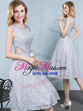Hot Sale Knee Length Grey Vestidos de Damas Scoop Sleeveless Lace Up
