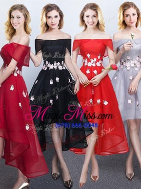 A-line Vestidos de Damas Black and Red and Grey Off The Shoulder Chiffon Sleeveless High Low Lace Up