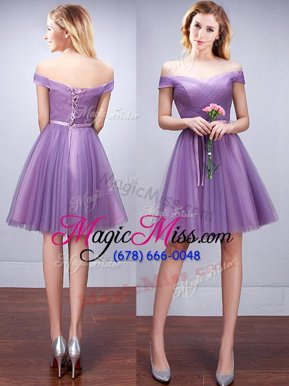 Off the Shoulder Lavender A-line Ruching and Belt Quinceanera Court of Honor Dress Lace Up Tulle Sleeveless Knee Length