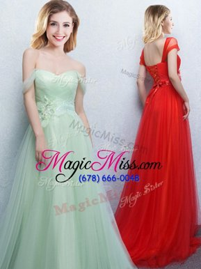 Noble Off the Shoulder Apple Green Empire Appliques and Ruching Damas Dress Lace Up Tulle Sleeveless With Train
