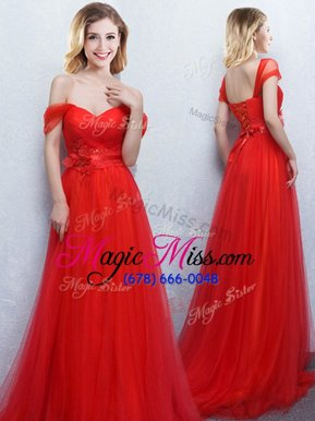 Modern Off the Shoulder Red Empire Appliques and Ruching Bridesmaid Gown Lace Up Tulle Sleeveless With Train