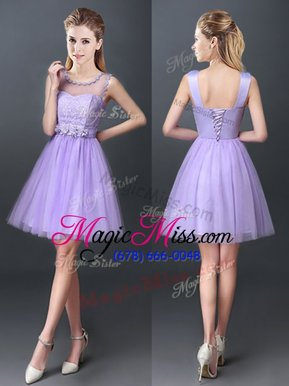 Glittering Scoop Lavender Sleeveless Mini Length Lace Lace Up Wedding Party Dress