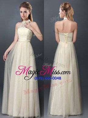 Enchanting Halter Top Sleeveless Lace and Appliques Lace Up Quinceanera Court Dresses