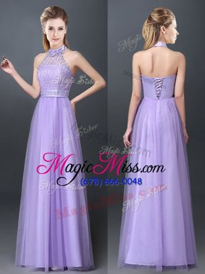 Most Popular Halter Top Lavender Sleeveless Lace and Appliques Floor Length Bridesmaid Dresses