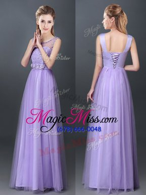 Cheap Scoop Lace and Hand Made Flower Wedding Party Dress Lavender Lace Up Sleeveless Floor Length
