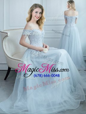 Low Price Light Blue Off The Shoulder Lace Up Beading and Appliques Quinceanera Court Dresses Cap Sleeves