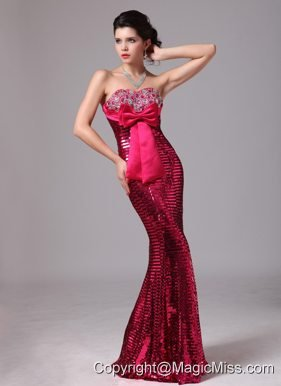 Paillette Over Skirt Hot Pink Bowknot Sweetheart Mermaid Stylish Prom Gowns For 2013 Custom Made In Normal Alabama