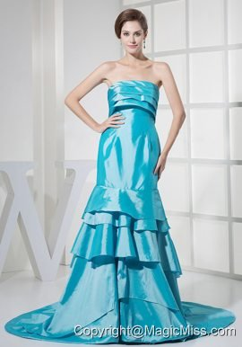 Ruffled Layers Decorate Bodcie Prom Dress For Formal Evening Aqua Blue Brush Train