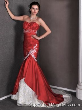 Red Mermaid Sweetheart Court Train Taffeta and Lace Appliques and Ruch Prom Dress