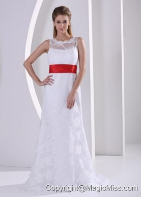 Column Bateau Lace Sash Romatic Wedding Dress For Hall