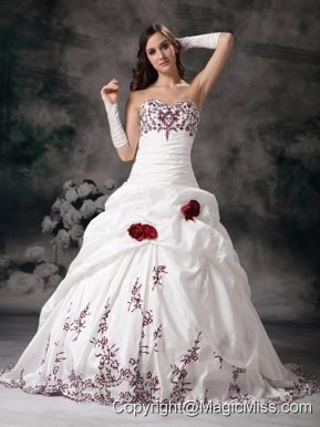 White Ball Gown Sweetheart Brush Train Taffeta Embroidery Quinceanera Dress