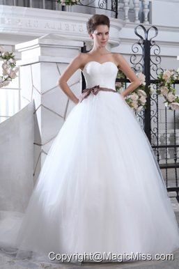 Lovely Mermaid Sweetheart Court Train Tulle Sash Wedding Dress