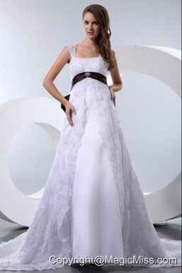 Fashionable A-line Straps Chapel Train Taffeta and Lace Bow Beading Wedding Dress