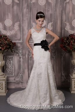 Gorgeous Column V-neck Court Train Lace Sash Wedding Dress