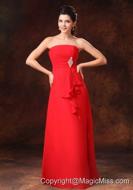 Strapless Red Empire Chiffon 2013 Prom Gowns Whit Beading Floor-length For Customize