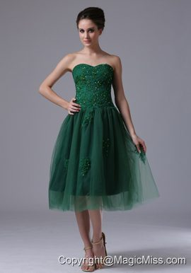 Dark Green Sweetheart A-Line Tulle 2013 Prom Dress With Beading