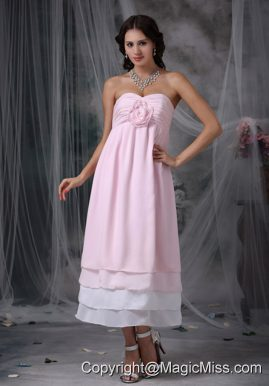 Pink Empire Sweetheart Tea-length Chiffon Hand Made Flower Prom Dress