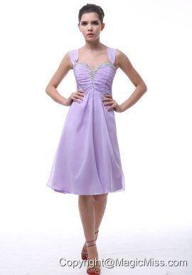 Alpine Avondale Lavender Straps Prom Dress With Beaded and Ruch Decorate Knee-length