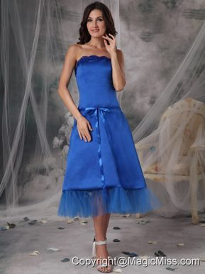 Blue A-Line / Princess Strapless Tea-length Taffeta Sashes/Ribbons Prom Dress