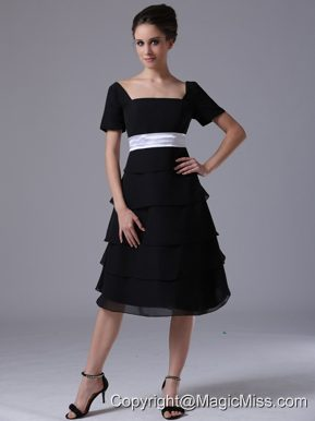 Black tiered skirt Square Black Wedding Party A-Line Chiffon Mother of the Bride Dress