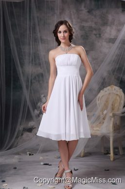 White A-line Strapless Knee-length Chiffon Ruch Bridesmaid Dress