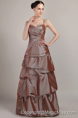 Brown A-line Spaghetti Strap Floor-length Taffeta Sequins Prom Dress