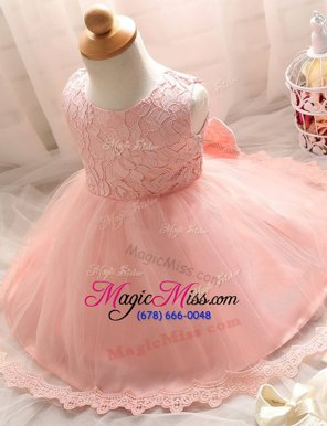 Trendy Scoop Baby Pink A-line Lace Flower Girl Dresses Zipper Tulle Sleeveless Floor Length