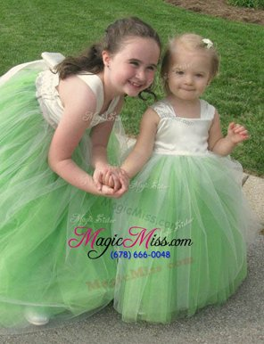 Dazzling Apple Green Square Lace Up Bowknot Flower Girl Dress Sleeveless