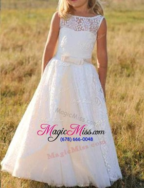 Designer Sleeveless Zipper Floor Length Lace Flower Girl Dresses for Less