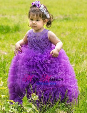 Chic Lavender Ball Gowns Scoop Sleeveless Organza Floor Length Lace Up Lace and Ruffles Flower Girl Dresses