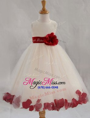 Perfect Scoop Appliques and Bowknot and Hand Made Flower Flower Girl Dress White Zipper Sleeveless Floor Length