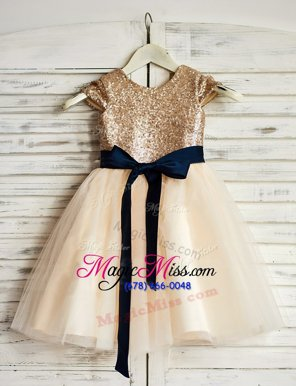 Low Price Scoop Sleeveless Flower Girl Dresses for Less Mini Length Sashes|ribbons and Sequins Champagne Tulle