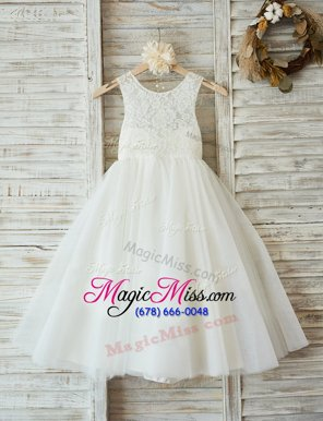 Glittering A-line Flower Girl Dresses White Scoop Tulle Sleeveless Floor Length Zipper