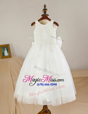 Custom Made Scoop White Sleeveless Lace and Bowknot Floor Length Flower Girl Dresses
