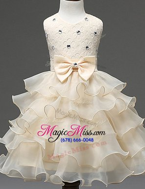 Glorious Champagne Zipper Scoop Beading and Ruffled Layers Flower Girl Dresses Organza Sleeveless