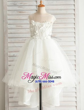Eye-catching Scoop White Cap Sleeves High Low Appliques Zipper Flower Girl Dresses