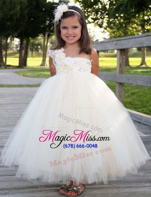 Glorious White A-line Tulle One Shoulder Sleeveless Hand Made Flower Ankle Length Zipper Flower Girl Dresses for Less