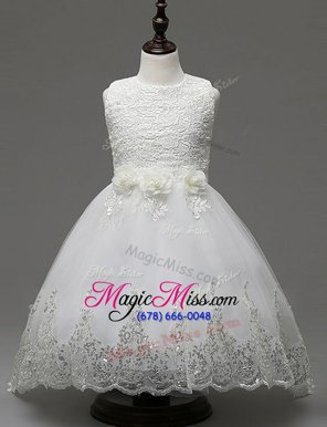 Captivating White Zipper Scoop Lace and Appliques and Bowknot Flower Girl Dresses Organza Sleeveless Brush Train