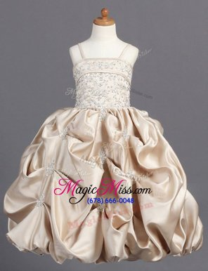 Fitting Sleeveless Zipper Floor Length Beading and Pick Ups Flower Girl Dresses for Less